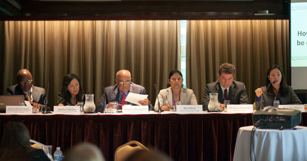 Caption: Debapriya Bhattacharya (3L) amongst other panellists during the Roundtable on 15 October 2014.
