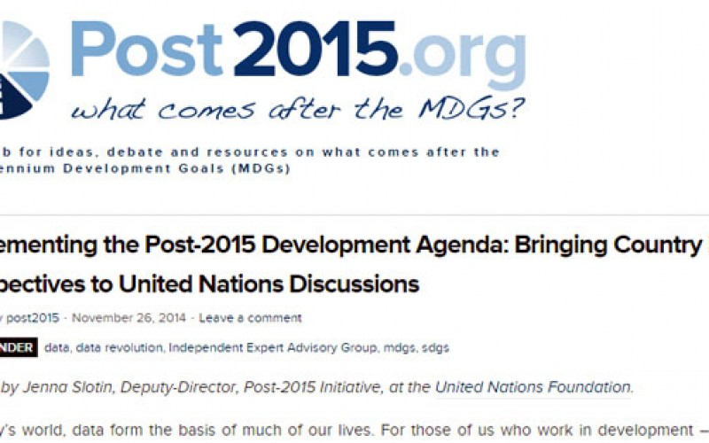 Implementing Post-2015 Development Agenda: Bringing Country-Level Perspectives to United Nations