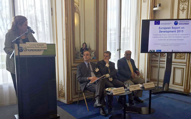 (right) Debapriya Bhattacharya attends special lunchtime session: Presentation of the Main Messages of the European Report on Development 2015: Combining finance and policies to implement a transformative post-2015 development agenda