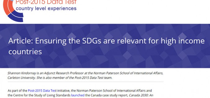 Ensuring the SDGs are relevant for high income countries