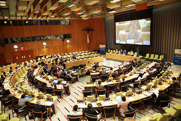 View of the of the morning meeting with HLPF 2015 representatives of Major Groups, other stakeholders and member states.