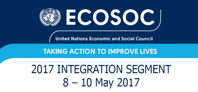 SV's experts to join SDG discussions at  ECOSOC Integration Segment 2017 (8 and 10 May 2017)