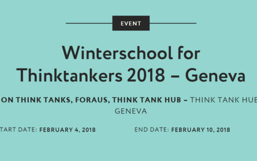 SV is a strategic partner of the Winterschool of Thintakers in Geneva
