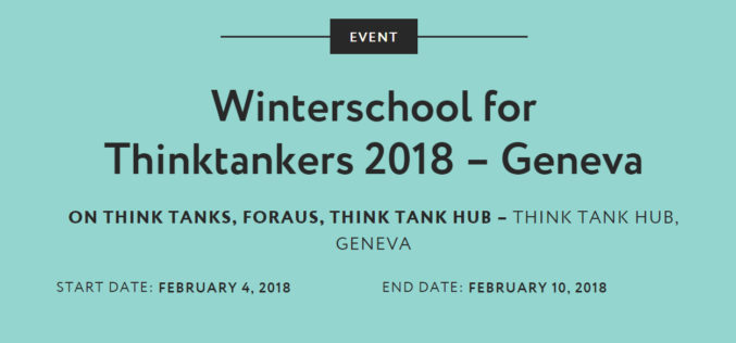 SV is a strategic partner of the Winterschool of Thintakers in Geneva